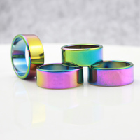 Fashion Jewelry Grade A Quality 6 Mm Width Faceted Hematite Rings Rainbow 50 Pieces Mixed Sizes