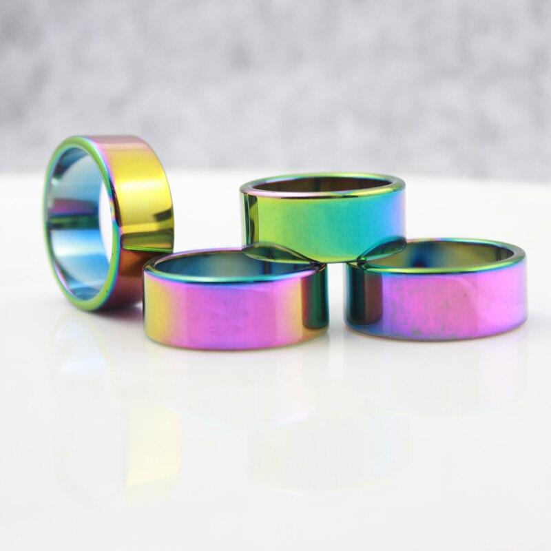 Bijoux fantaisie Grade AAA qualité arc-en-ciel 10mm largeur plat hématite anneau (50 pièces tailles mixtes) HR1006-1