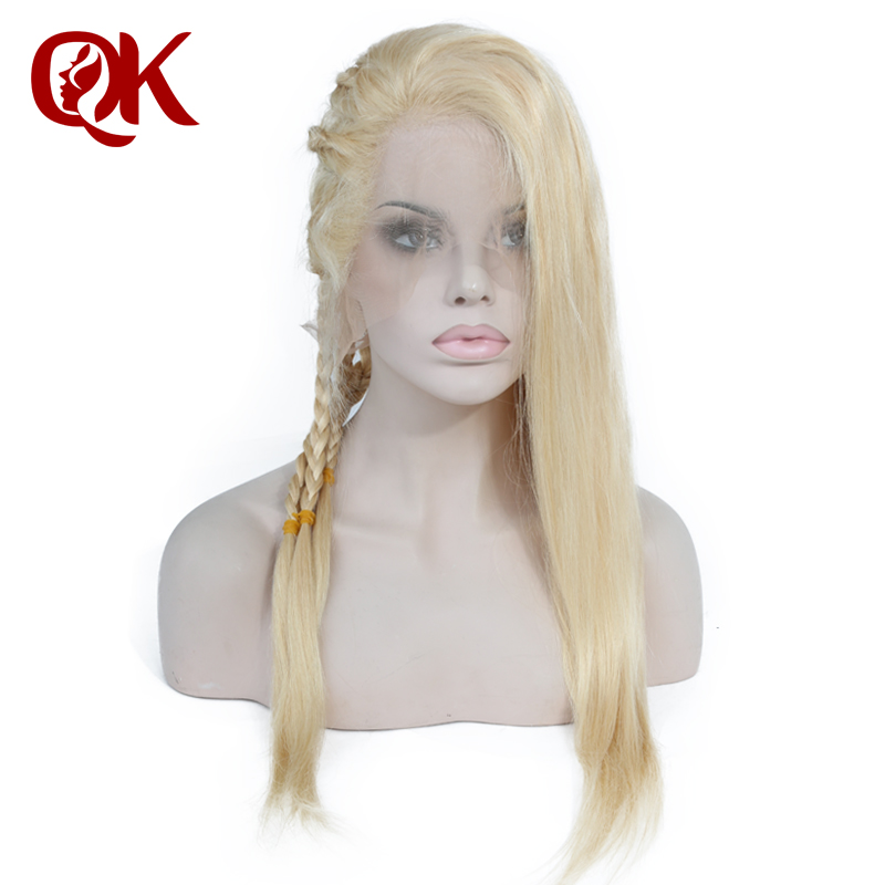 QueenKing hair Brazilian Human Blonde Hair Full lace 613 Silky Straight Remy Wigs For Black Women