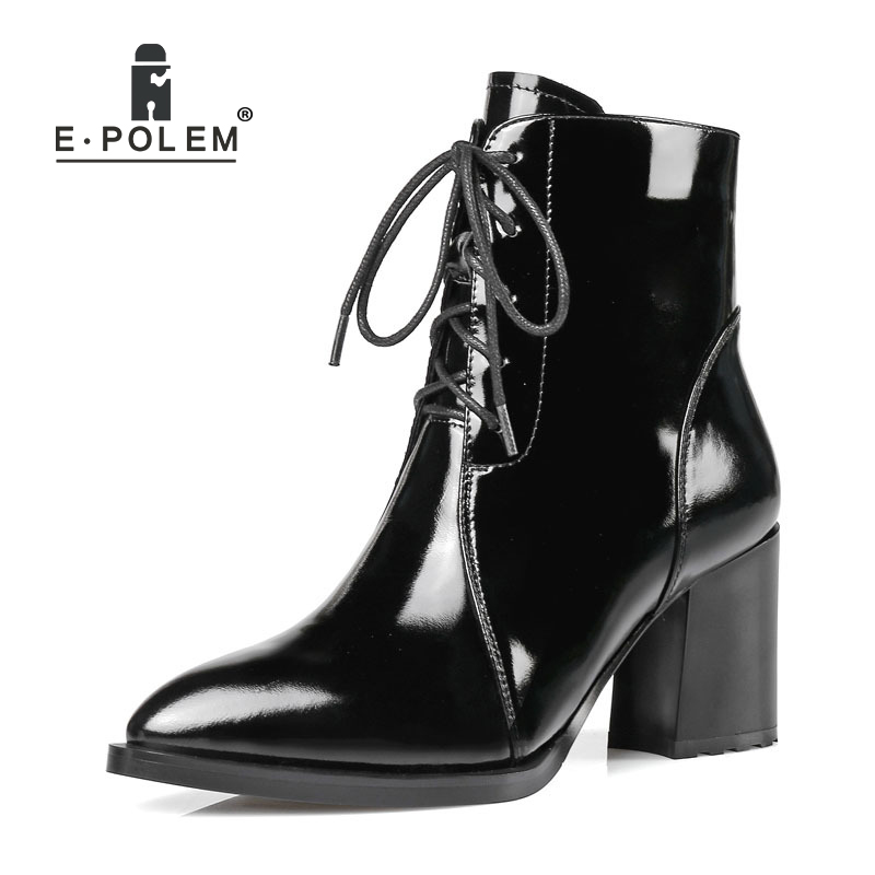 Fashion Female Genuine Leather Martin Boots Punk Lace-Up Ankle Boots High Thick Heel Women Boots Teenage Girl's Pointed Toe Boot sfzb new square toe lace up genuine leather solid nude women ankle boots thick heel brand women shoes causal motorcycles boot