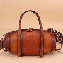 Vintage Handmade Handbag Excellent Genuine Leather Bags Wine Box Shape Richer Women S Tote Bag Real