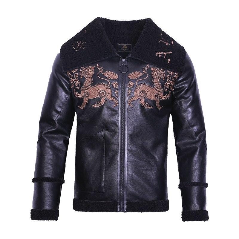 Livraison gratuite fanzhuan nouveau 2017 mode mâle hommes broderie en cuir motif animal style court homme veste en cuir synthétique polyuréthane 710165 hiver manteau - 5