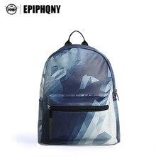 Epiphqny известный бренд плечо Bagpack Повседневное синего цвета для девочек элегантный дизайн ПУ Bagpack с геометрическим принтом модные Школьные Сумки Малый