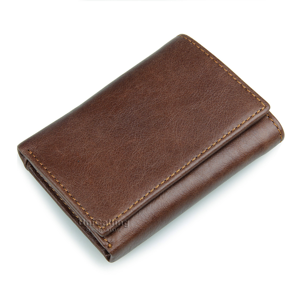 vintage full cow leather men's wallet genuine men small 3 folders Factory fashion