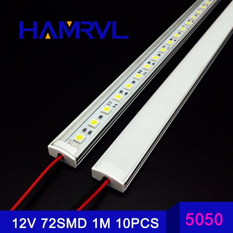 10/30/50/100M lumineux cuisine LED bande lumière DC12V 72SMD 5050 LED dur rigide bande barre lumière + U aluminium + couvercle plat CE FCC