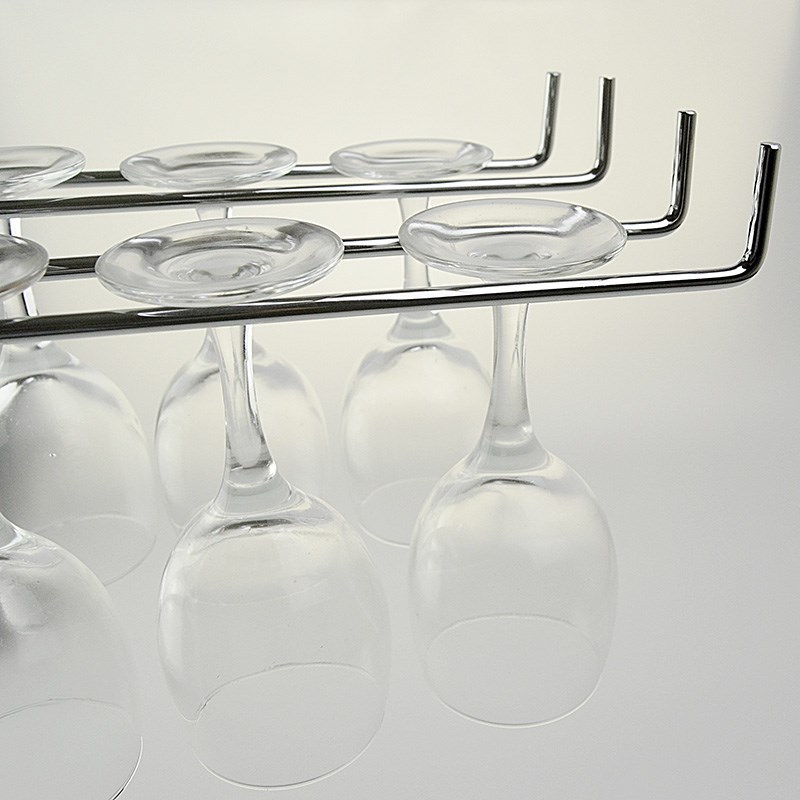 Hanging Suction Cup Frame Stainless Steel Single Double Row Rack Wall Mount Wine Glass Stemware Shelf Bar Tools Accessories in Wine Racks from Home Garden