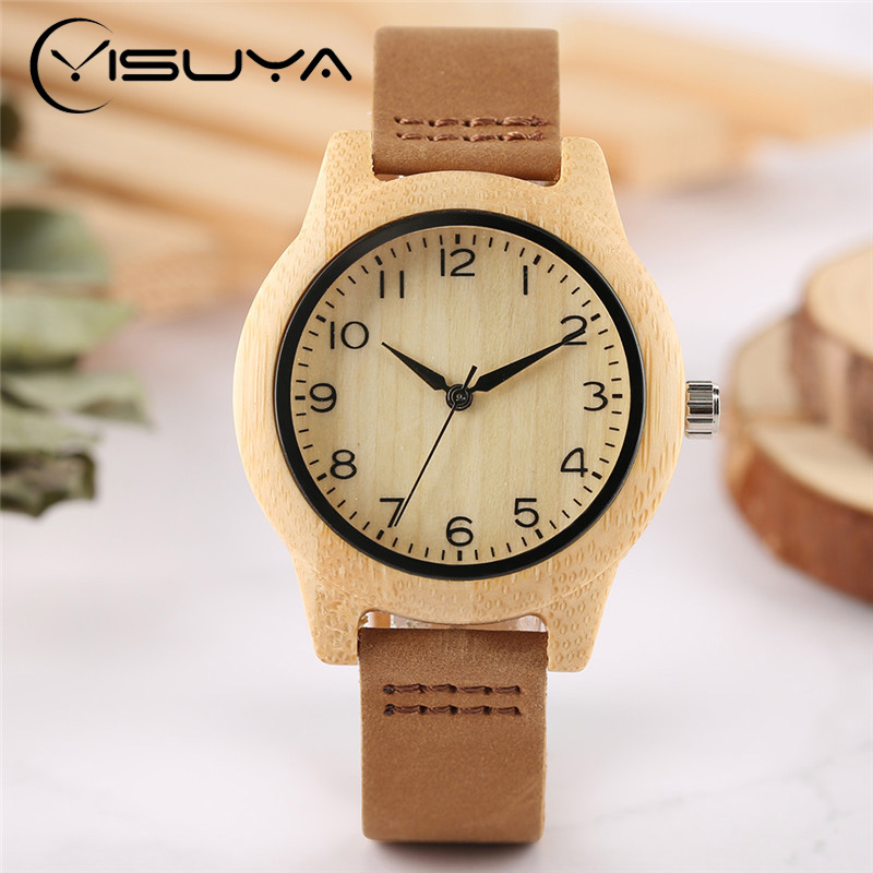 YISUYA Minimalist Creative New Arrival Genuine Leather Quartz Fashion Trendy Wrist Watch Women Nature Wood Bamboo Analog Clock yisuya creative fashion full bamboo triangular quartz wrist watch men simple unique novel analog hollow bangle nature wood clock