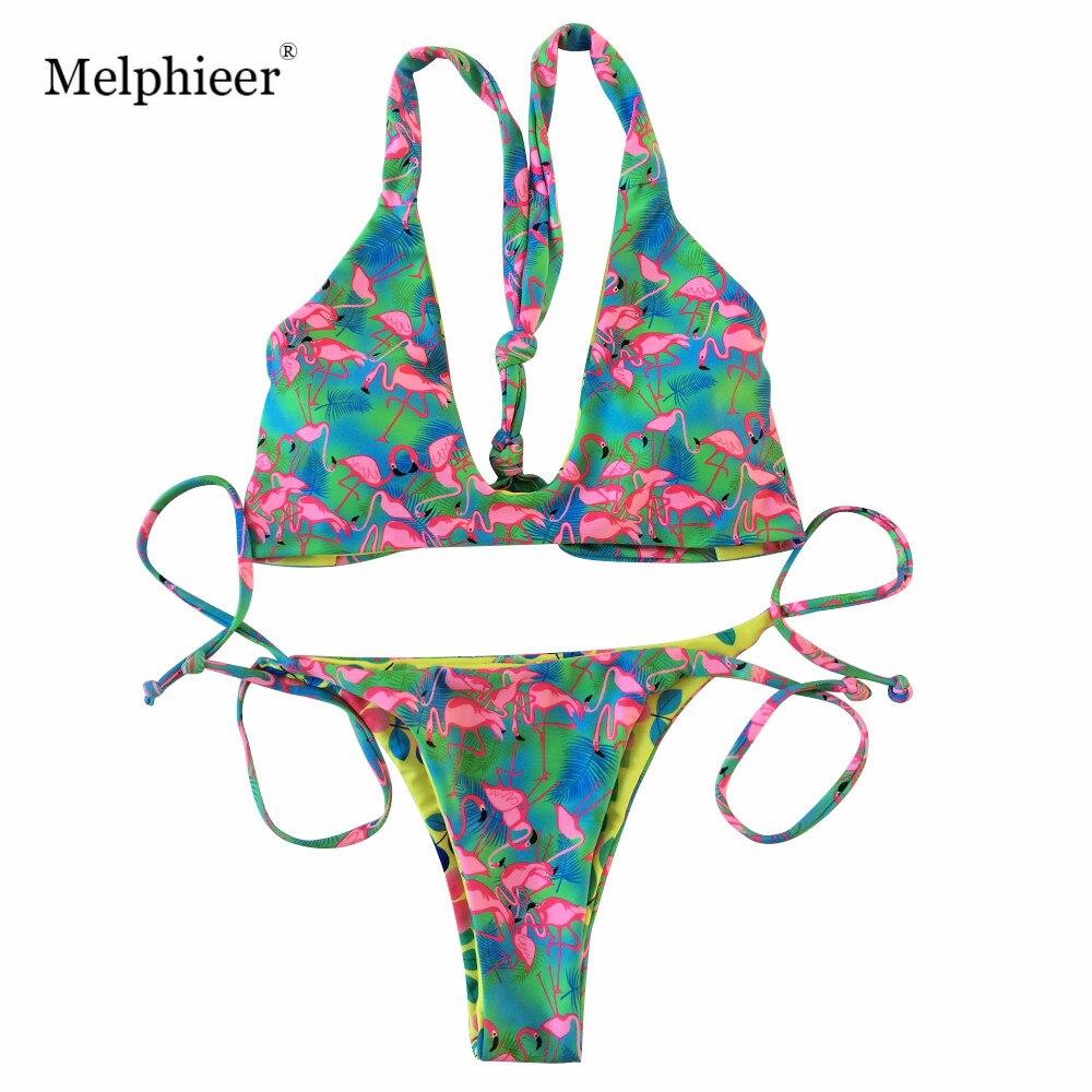 3007f27788e67 Flamingo Print Strappy Bikini Summer Biquini 2018 Sexy Swimsuit Beach Swimming  Bathing Suit Brazilian Swimwear Women Bather Swim