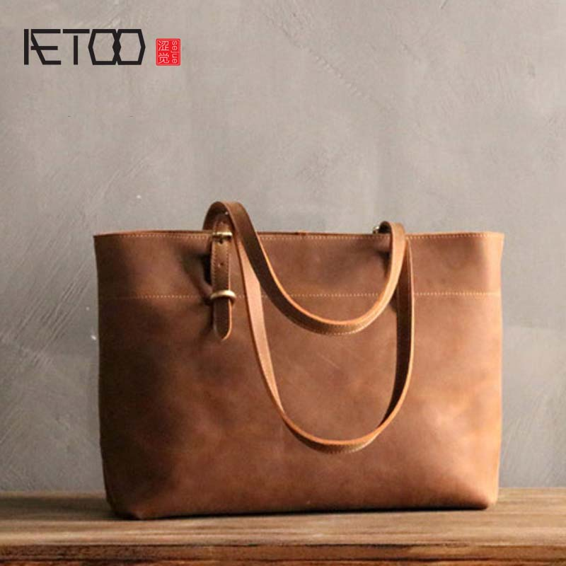 AETOO Simple design large-capacity first layer cowhide handbags art crazy horse leather shoulder bag tote bag leather tote luxury fashion new women handbags genuine leather female shoulder bag big first layer cowhide simple large capacity tote bags