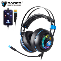SADES Armor USB Gaming Headset Realtek Gaming Audio Lightweight RGB Lighting Noise-cancellation For PC
