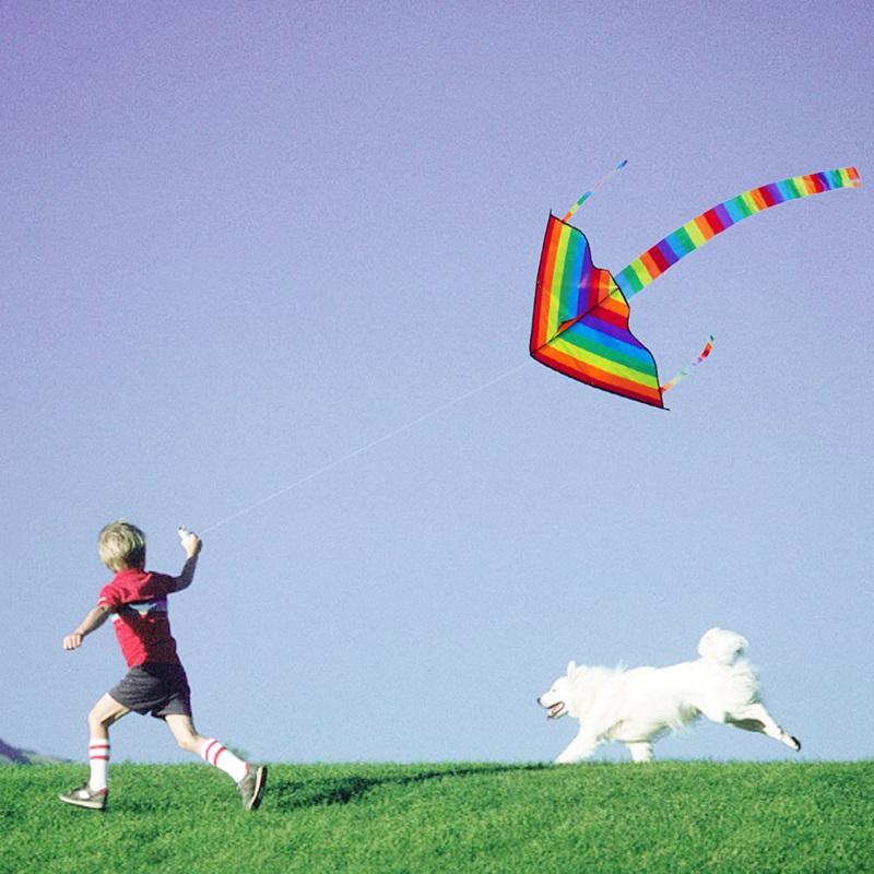 Long Tail Nylon For Kids Outdoor entertainment Tools Outdoor Flying Surf Control Colorful Rainbow Without Bar and Line