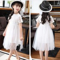 2017 New Sweet Children Dress Girls Summer Clothes Lace Short Sleeve Tulle Dresses Pink White Kids
