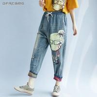 Elastic Waist Print Cartoon Boyfriend Jeans For Women Spring Autumn Fashion Streetwear Capris Denim Harem Pants Jean Femme