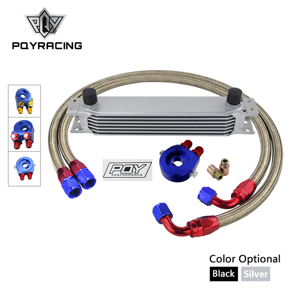 AN10 OIL COOLER KIT 7ROWS TRANSMISSION OIL COOLER KIT + OIL FILTER ADAPTER +STAINLESS STEEL BRAIDED HOSE WITH PQY STICKER+BOX топливоснабжение pqy an10 pqy6721