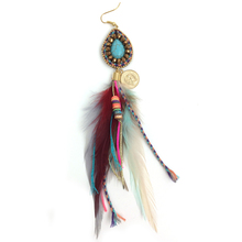 New handmade Ethnic jewellery vintage dangle feather charm earrings tassel turquoise Pendant earrings faux turquoise feather drop earrings