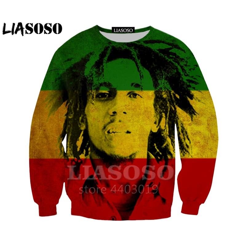 LIASOSO New Men 3d  Sweatshirts Reggae Star Bob Marley Print Pullovers Streetwear Casual Pullovers Funny Harajuku Sweats A045-90