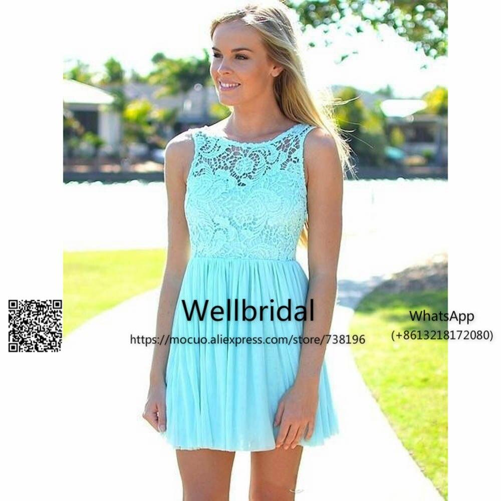 2017 Beach Bridesmaid Dresses Short Chiffon Lace Wedding Party Dress Tank Vestido De Festa De Casamento Pleat Bridesmaid Dress