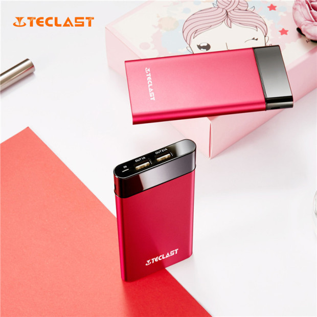 Teclast 10000mA High capacity T100UC-R Ultra-thin Fashion Red Mobile Power Bank For iPhone6 7 & Galaxy S6 Android Mobile Phones