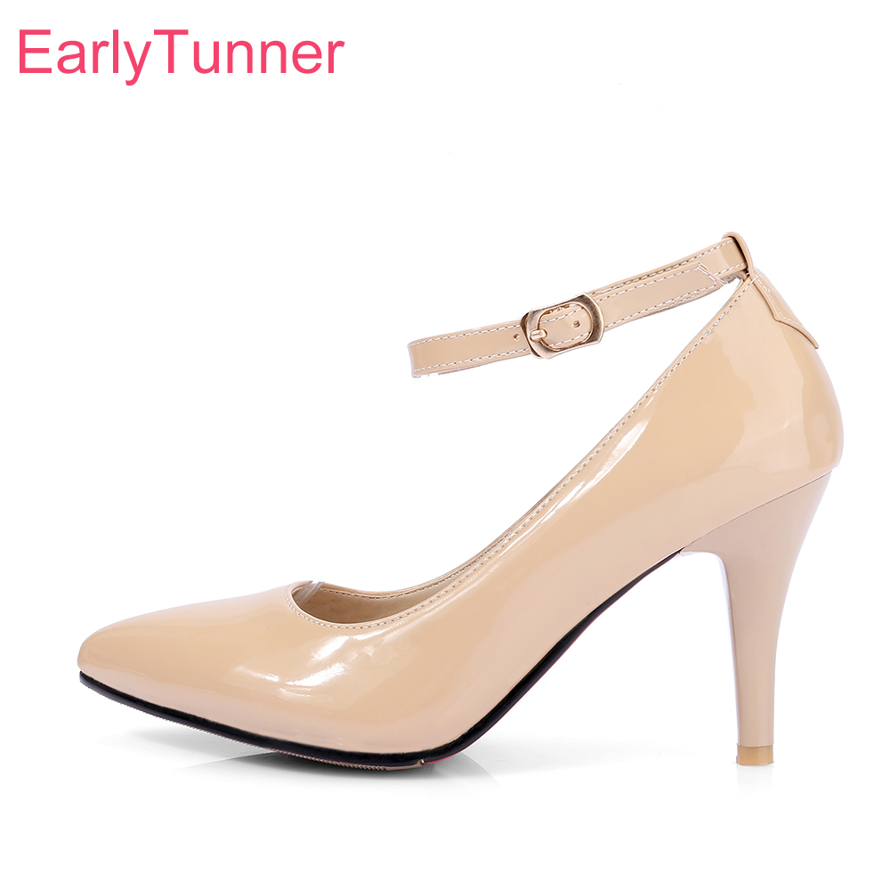 Brand New Glamour Apricot Red Women Glossy Nude Pumps Black High Heels Lady Formal Dress Shoes EH391 Plus Big Size 10 31 43 47 brand new hot sexy women sandals black light blue apricot fashion pumps ladies high heel shoes em331 plus big size 4 10 12 43 47
