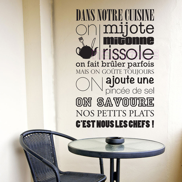 Stickers french citation cuisine kitchen rules vinyl wall for Decor mural cuisine