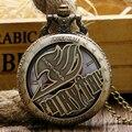 Relógios de Bolso do vintage Animar Natus Dragneel Fairy Tail Padrão Oco Quartzo Relógio de Bolso Com Colar de Corrente Presente Dos Desenhos Animados