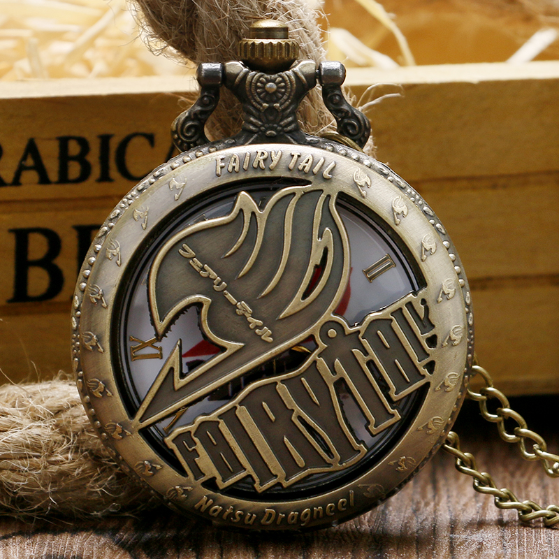 Vintage Pocket Watches Animate Fairy Tail Pattern Hollow Natus Dragneel Quartz Fob Watch With Necklace Chain Cartoon Gift