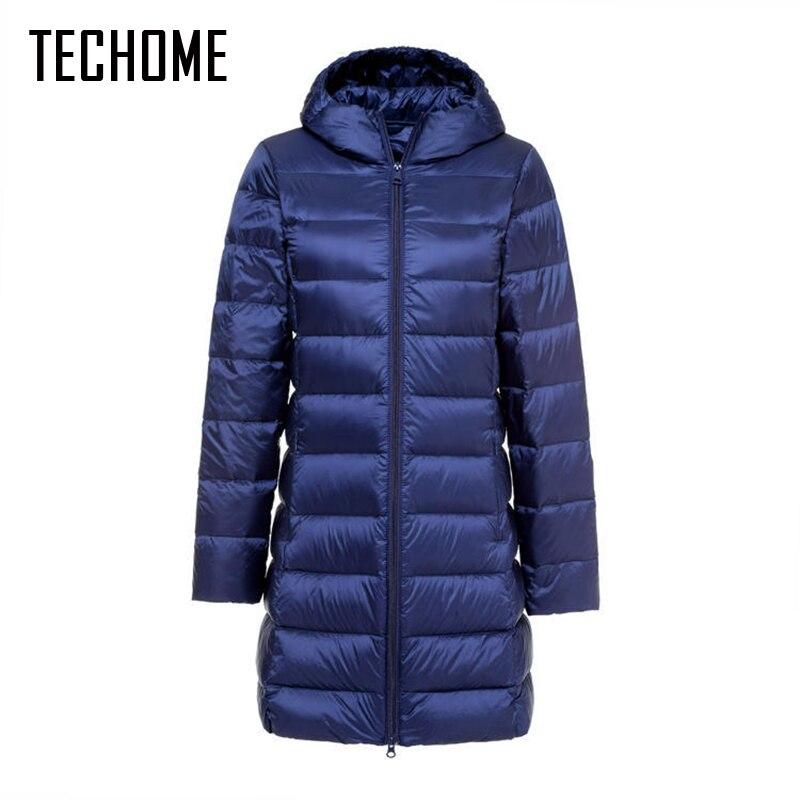 Новый бренд женские длинные зимнее теплое пальто Для женщин ультра легкий Куртка–пуховик на 90% белом утином пуху Для женщин парка с капюшон...