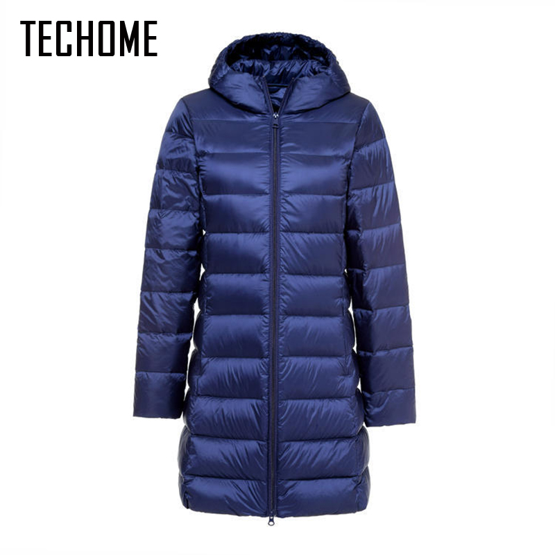 New Brand Ladies Long Winter Warm Coat Women Ultra Light 90% White Duck Down Jacket Women's Hooded Parka Female Jackets Size 5XL