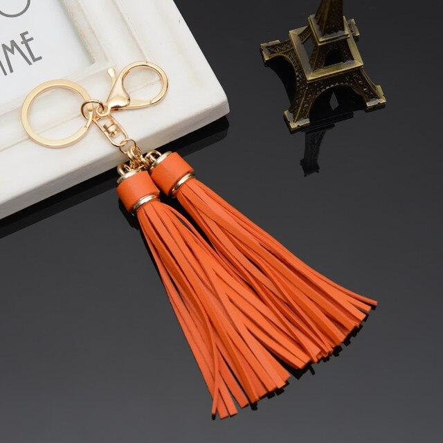 Classic PU Leather Tassel Key Chain Gold Color Metal Key Ring Women Bag  Charm Handbag Accessory Car Keyring Fashion Jewelry Gift 04ed5ac7a