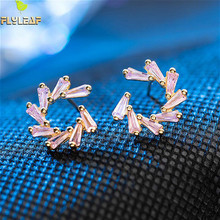 Flyleaf 925 Sterling Silver Stud Earrings For Women Pink Spark Cubic Zirconia 18k Gold Earings Fashion Jewelry High Quality