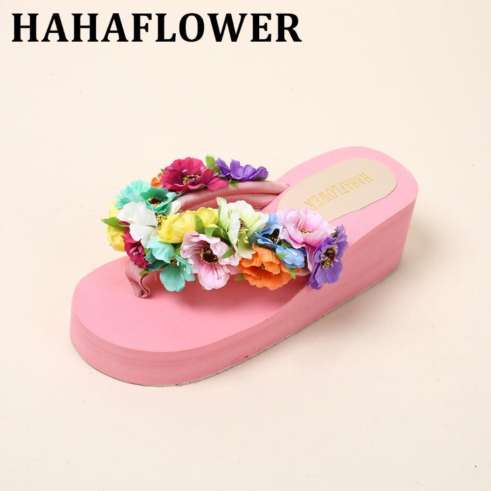 HAHAFLOWER 2017 New Summer Slippers Women Fashion Flip Flops Beach Platform Sandals Ladies Handmade Flowers Wedge Shoes new summer cheap slippers women fashion flip flops beach platform sandals ladies handmade flowers wedge jelly shoes bohemia