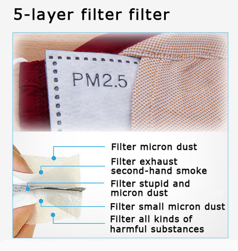 * Tcare Fashion Cotton PM2.5 Anti haze smog mouth Dust Mask + * Activated carbon filter paper * bacteria proof Flu Face Mask 20