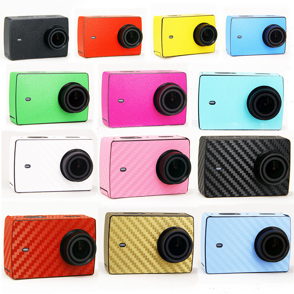 Para xiaomi 4K etiqueta de la cámara del deporte xiao yi accesorios para xiaomi yi 2 cam piel imitación funda protectora de fibra de carbono