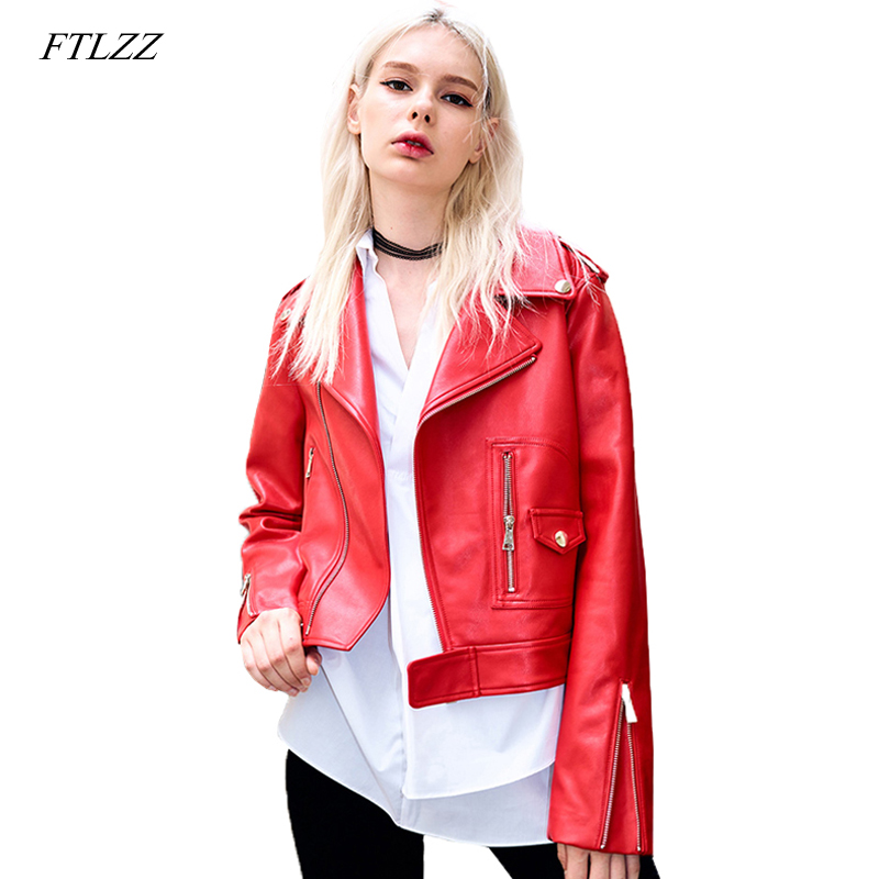 FTLZZ Women Pu   Leather   Motorcycle Jacket Biker Red Faux Soft   Leather   Jackets Turn-down Collar Slim Punk Black Coat