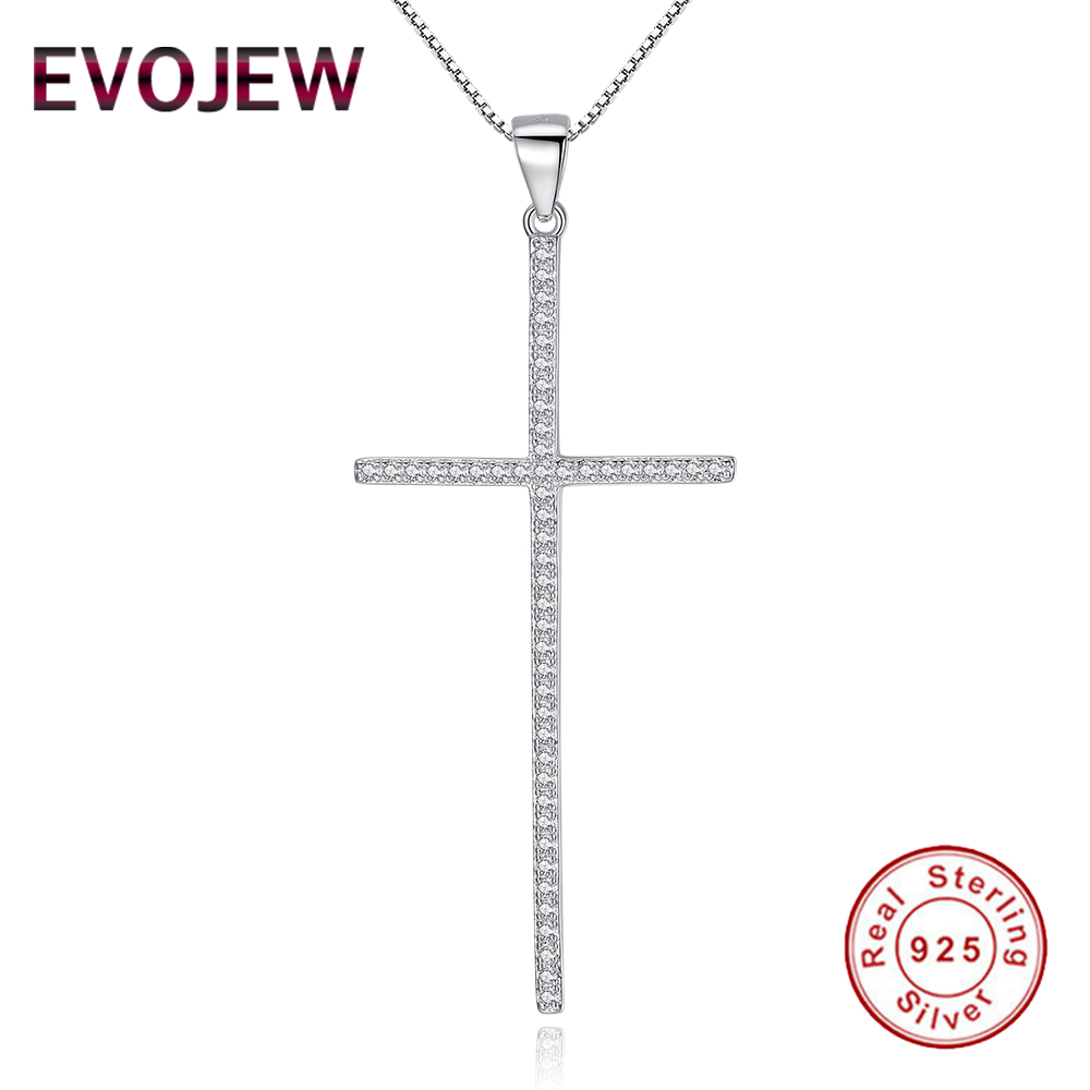 EVOJEW 925 Sterling Silver Cross Chain Necklace Pendant With Sparkling Cubic Zirconia For Women Ladies Jewelry