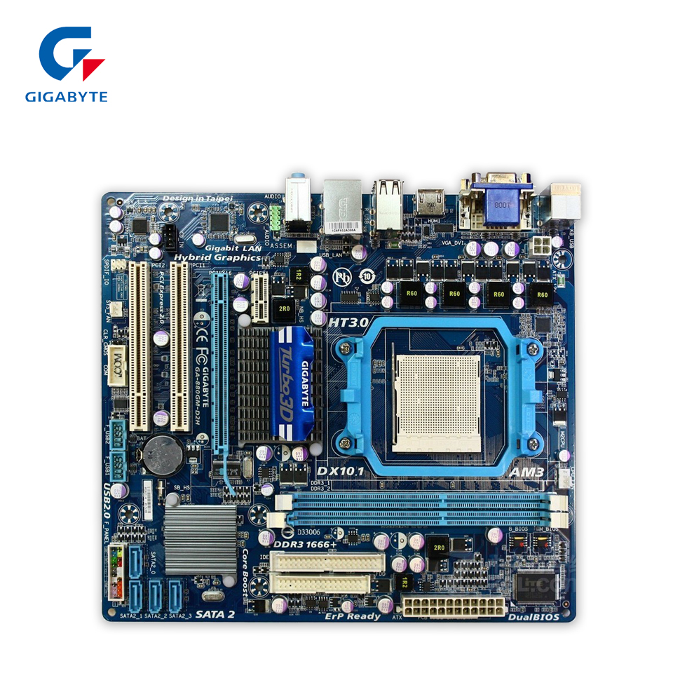 Gigabyte GA-880GM-D2H Original Used Desktop Motherboard 880GM-D2H 880G Socket AM3 DDR3 SATA2 USB2.0 Micro ATX мышь проводная gigabyte gm m5050x 546823 usb