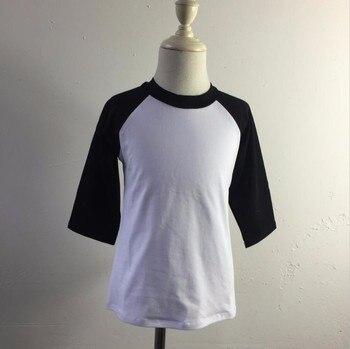 Meisjes jongens 100 katoen t-shirt kinderen dragen plain blanco raglan 3/4 mouw t-shirt groothandel