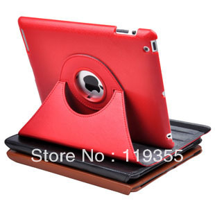 Free Shipping Magnetic Smart Cover Embossed leather Case for ipad 3 and Ipad4 New Ipad with 360 Degrees Rotating Stand