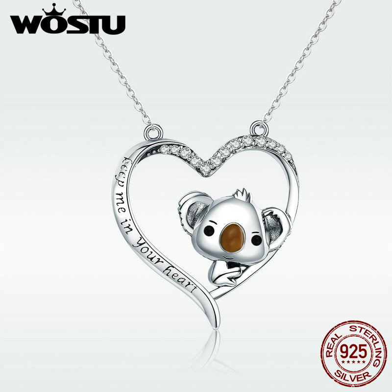WOSTU High Quality 925 Sterling Silver Cute koala Pendant Necklace For Women Girl Lovely Jewelry Gift For Girlfriend DXN256Necklaces   -