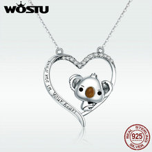 WOSTU High Quality 925 Sterling Silver Cute koala Pendant Necklace For Women Girl Lovely Jewelry Gift For Girlfriend DXN256