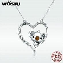 WOSTU haute qualité 925 en argent Sterling mignon koala pendentif collier pour femmes fille belle bijoux cadeau pour petite amie DXN256