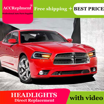 car styling For Dodge charger headlights angel eyes 2011-2014 For Charger LED light Q5 bi xenon lens LED Bulb projector