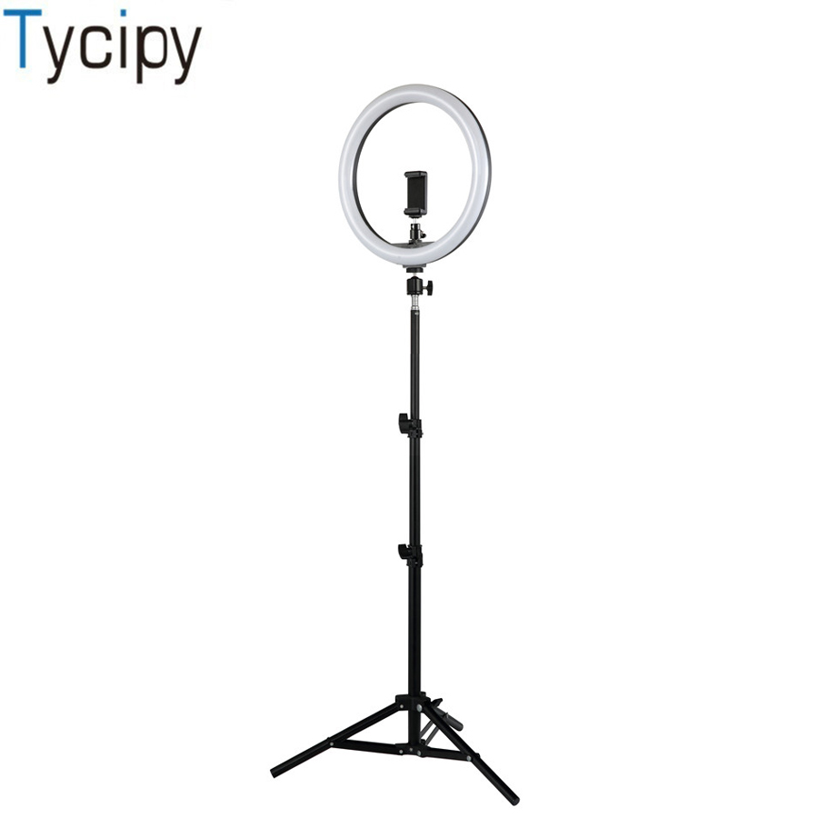 Tycipy USB Ring Light With 1 1m Tripod Stand Phone Holder 12 Dimmable LED Photography Lighting
