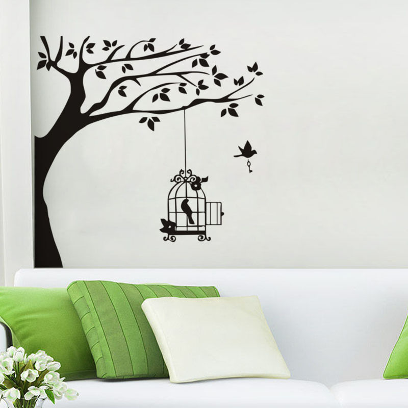 Bird Cage Hanging in Tree Branch Wall Stickers Vincy Wall Sticker Home Decor Living Room Sofa Background Wall Art Decals  SA054B