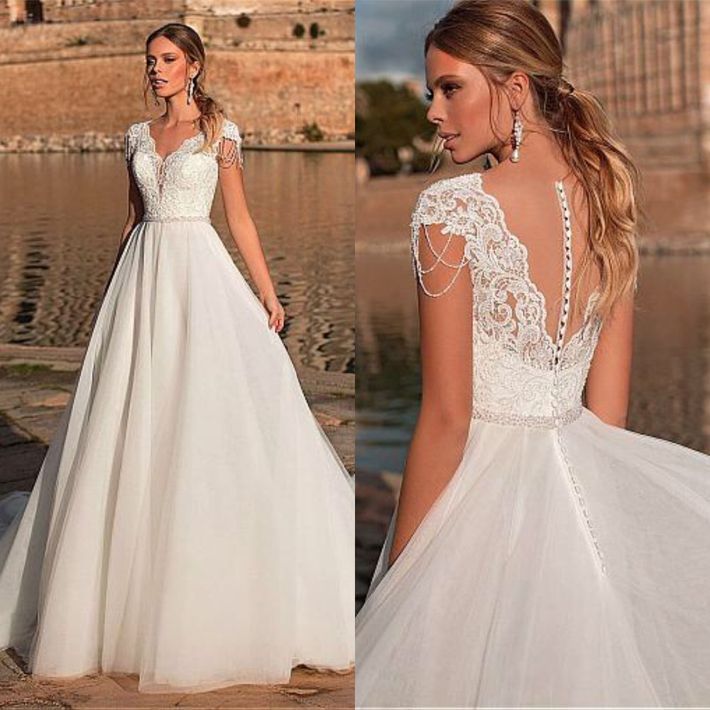 Graceful V-neck A-line Wedding Dress Appliques Custom Made Tulle Gowns Short Sleeve Illusion Back Bridal Dresses