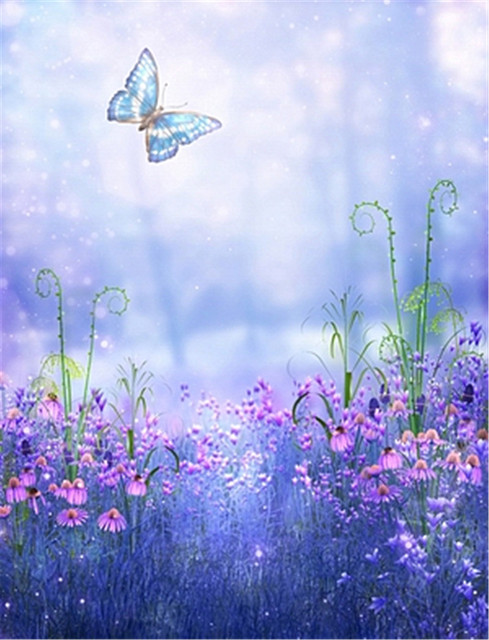 Light Blue Background Pink Flowers With Butterfly Vinyl Backdrops For  Photography Digital Print Baby Photo Studio