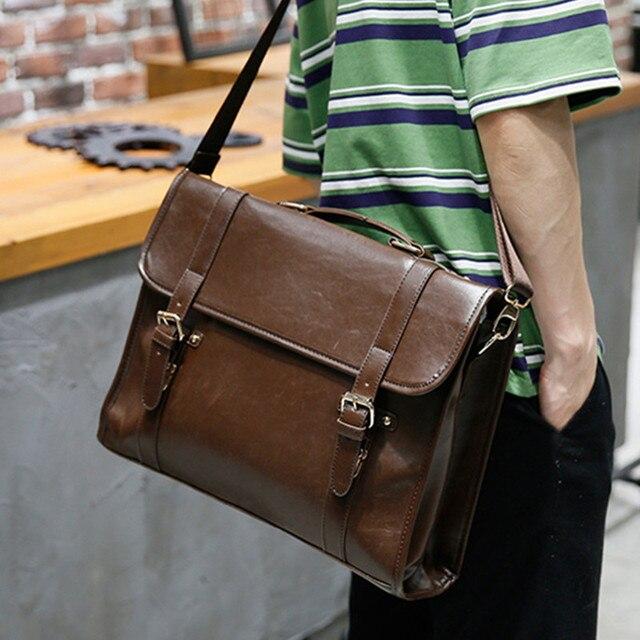 46759e03e907 Коричневый кожаный портфель деловые мужские сумки мужские дорожные сумки  для ноутбука