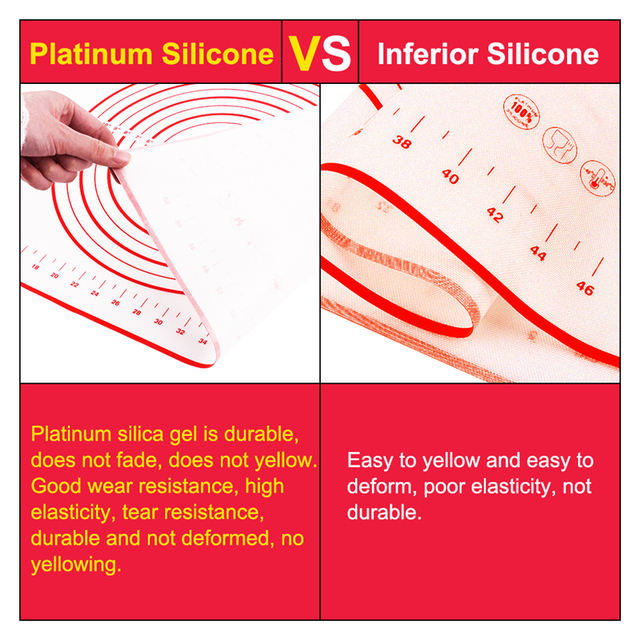 Silicone Baking Mats Sheet Pizza Dough Non-Stick Maker Holder Pastry Bakeware Accessories 5