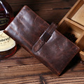 Top Quality New Men Crazy Horse Cowhide Genuine Leather Card Holder Pack Case Pocket Purse Hand Bag Trend Vintage Long Wallet
