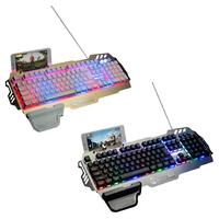 2018 New Arrival Metal Keyboard Business Office Keyboard For Game Keyboard With Colorful Lights Dropship 9.11